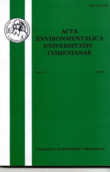 acta environmentalica universitatis comenianae - Univerzita ...
