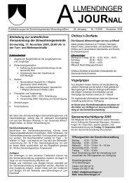 Allmendinger Journal Nr. 11/2005 - Gemeinde Allmendingen bei Bern