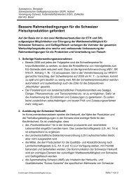 Bessere Rahmenbedingungen für die Schweizer ... - Bell AG