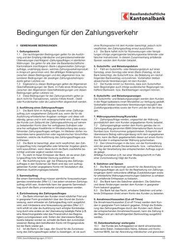 Bedingungen für den Zahlungsverkehr - BLKB
