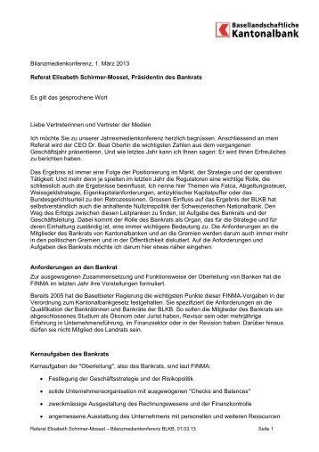 Referat Fr. Schirmer zum BLKB-Geschäftsergebnis 2012