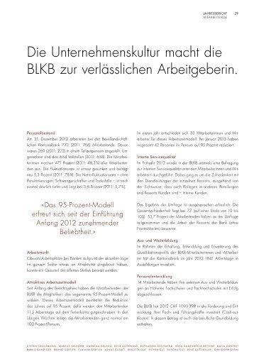 Mitarbeitende, Ausbildung und Mitarbeiterumfrage - BLKB