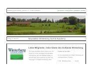 Newsletter Winterberg Golf & Academy Liebe Mitglieder, liebe Gäste ...