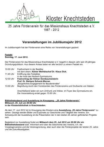 Veranstaltungen im Jubiläumsjahr 2012 - Förderverein für das ...