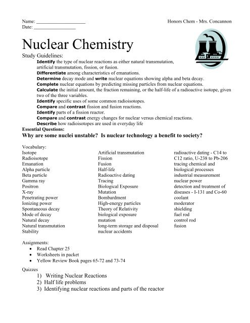 Nuclear Chemistry Notes Packet