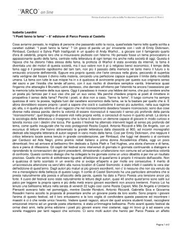 """""""I Poeti fanno la fama"""" – 8° edizione di Parco Poesia al Castello ..."""