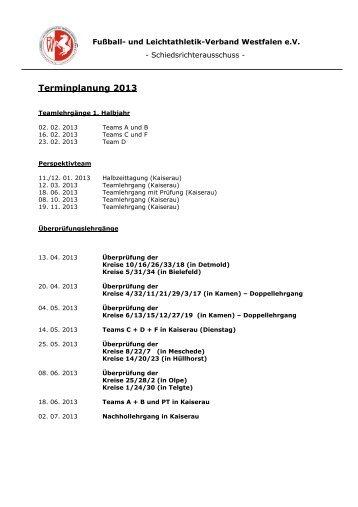 Termine 2013 - Fußball und Leichtathletik Verband Westfalen eV