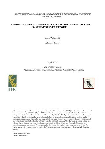community and household-level income & asset status baseline