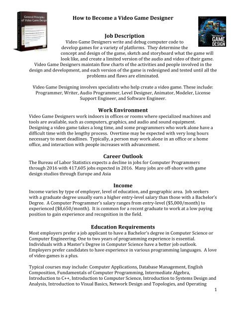 How To Become A Video Game Designer Job Foothill College