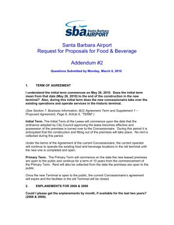 Addendum 2 - RFP_food 2010 - Santa Barbara Airport