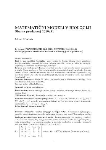 matematiˇcni modeli v biologiji - Fakulteta za matematiko in fiziko