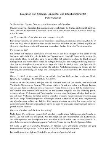 Evolution von Sprache, Linguistik und ... - Philosophische Fakultät