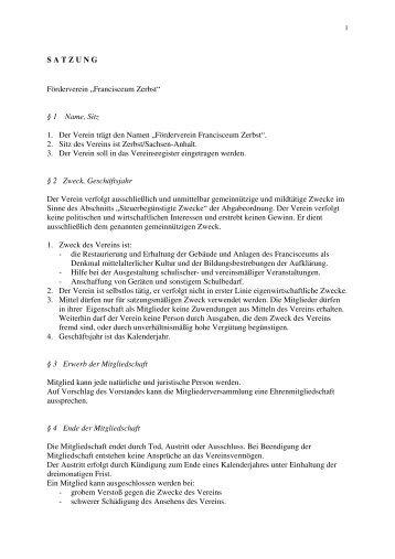 Vollständige Satzung zur Ansicht - Förderverein Francisceum Zerbst ...