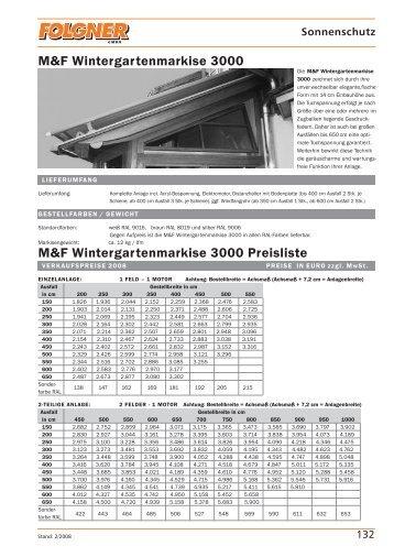 M&F Wintergartenmarkise 3000 M&F Wintergartenmarkise ... - Folgner