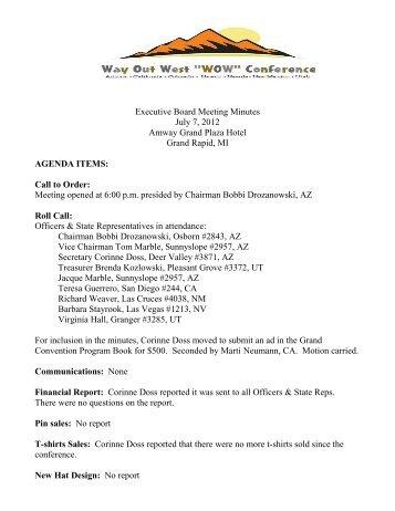 July 7, 2012 Executive Board Meeting Minutes