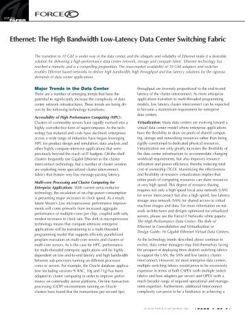 Ethernet: The High Bandwidth Low-Latency ... - Force10 Networks