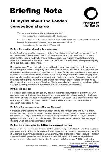 10 myths about the London congestion charge - Friends of the Earth