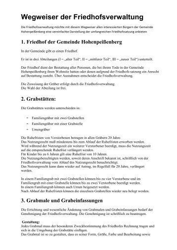 Wegweiser der Friedhofsverwaltung - Hohenpeißenberg