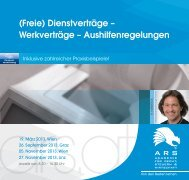 (Freie) Dienstverträge – Werkverträge ... - ARS