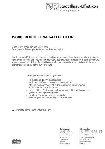"""Merkblatt """"Parkieren in Illnau-Effretikon"""" - Stadt Illnau-Effretikon"""