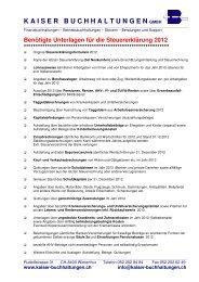 Checkliste benötigte Unterlagen für die Steuererklärung 2012