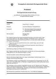 Protokoll der KGV vom 22. November 2006 - Kirchgemeinde Köniz