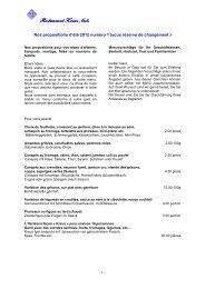Proposition Menus été 2012 - Restaurant Kreuz