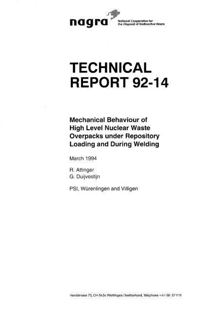 TECHNICAL REPORT 92-14 - Nagra
