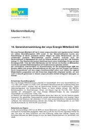 14. Generalversammlung der onyx - Onyx Energie Mittelland