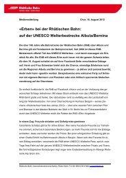 «Erben» bei der Rhätischen Bahn: auf der UNESCO ... - RhB