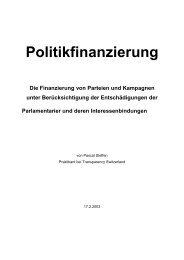Politikfinanzierung - Transparency International