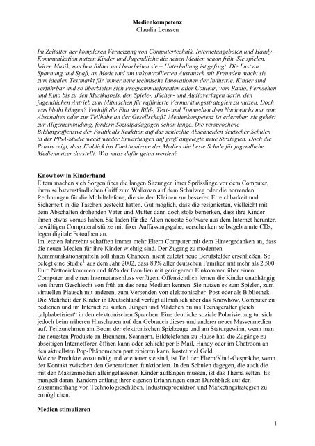1 Medienkompetenz Claudia Lenssen Im Zeitalter der komplexen ...