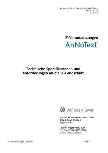 IT-Voraussetzungen Technische Spezifikationen und ... - AnNoText