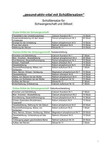 Schüßler-Salze in der Schwangerschaft und Stillzeit - Apotheke Mayr