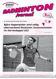 Heft 05/2013 - Baden - Württembergischer Badminton - Verband