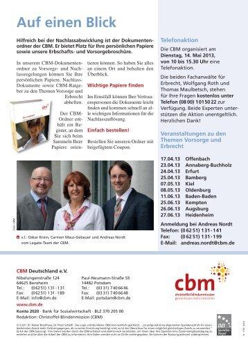 Nachlassabwicklung - Christoffel-Blindenmission