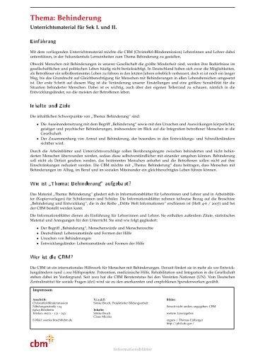 Thema: Behinderung - Christoffel-Blindenmission