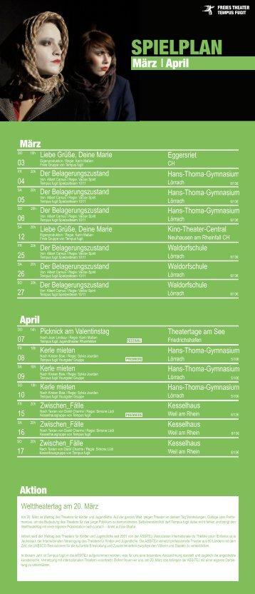 SPIELPLAN - Freies Theater Tempus fugit