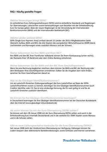 FAQ / Häufig gestellte Fragen - Frankfurter Volksbank eG