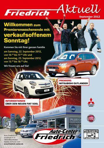 Veranstalungs Folder - beim Auto Center Friedrich