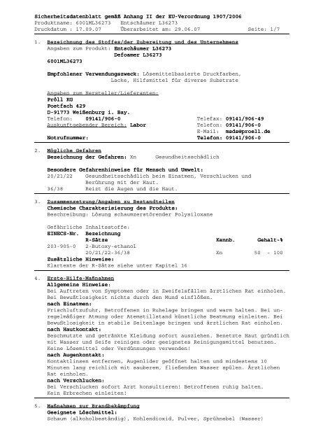 Sicherheitsdatenblatt Sicherheitsdatenblatt gemäß Anhang II der EU ...
