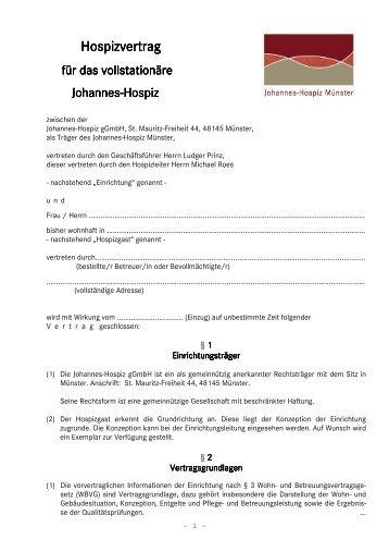 Hospizvertrag - Johannes-Hospiz Münster