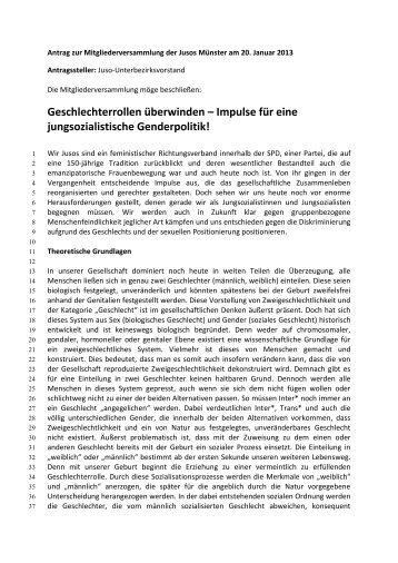 Impulse für eine jungsozialistische Genderpolitik! - Jusos Münster