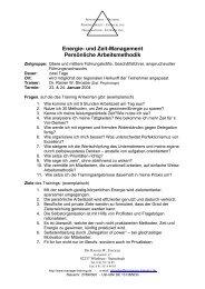 Energie- und Zeit-Management Persönliche Arbeitsmethodik