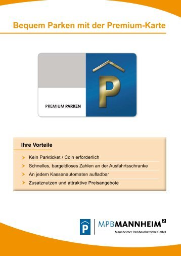 Bequem Parken mit der Premium-Karte - Parken in Mannheim