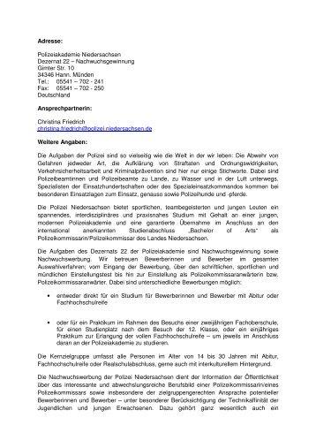 Adresse Polizei Niedersachsen