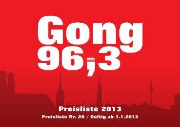 Preisliste - Radio Gong 96,3