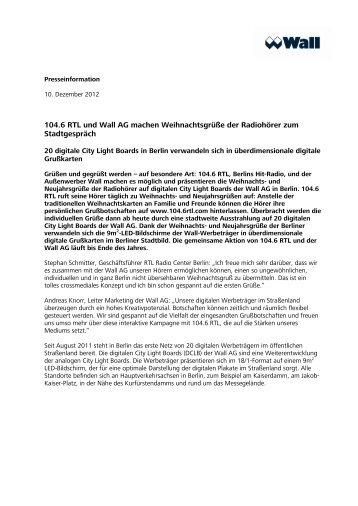 Pressemitteilung_104.6 RTL und Wall AG machen ...