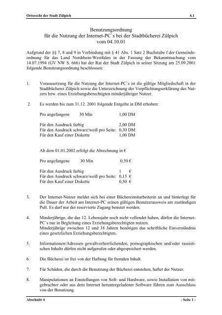 StadtbuechereiInternetBenutzungsordnung .pdf - Stadt Zülpich
