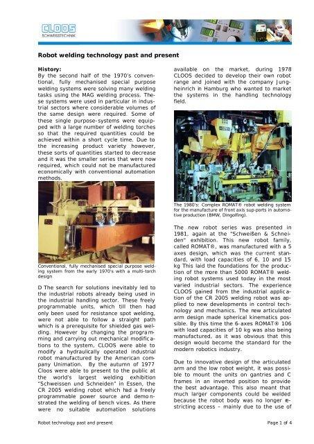 Robot technology past and present - Carl Cloos Schweißtechnik